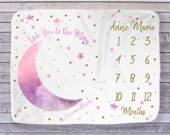 Moon Stars Baby Month Blanket Girl, Personalized Monthly Milestone Blankets, Pink Gold Neutral Nursery, I Love You to the Moon Photo Props