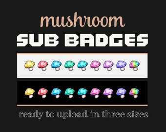 Twitch Sub Badges: Mushrooms | Subscriber Loyalty Badges Pack. Instant Download of 9 Colors with Rainbow Variation