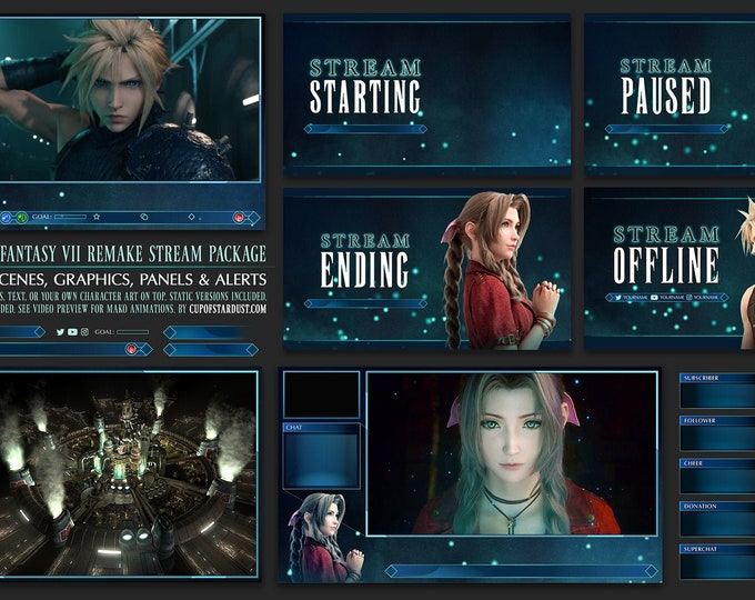 FF7R Final Fantasy VII Stream Overlay Pack (Animated)