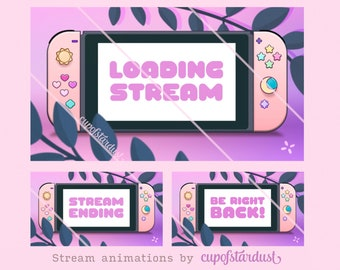 Stream Starting Soon Video Download, BRB, Ending Animations - Aesthetic Switch in Pastel Peach Pink Purple