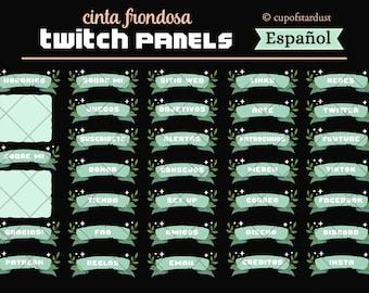 Español Paneles Verdes de Twitch -  hojas y estrellas tema de perfil con cinta verde - arte del canal de Twitch