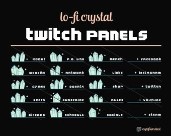 Lo Fi Crystal Twitch Profile Panels w/ Stars & Sparkles - Pastel Green Blue - 21 Twitch Panel Files Download - Lo Fi Aesthetic Cute