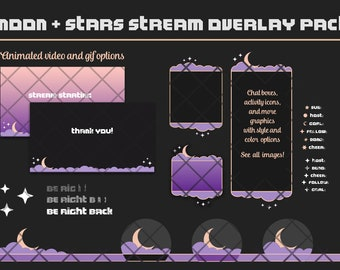 Moon + Stars Twitch Overlay Set | Animated Overlays: Starting, Ending, and BRB Scenes, Videos, Chat Boxes, and Graphics
