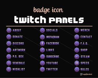 Twitch Profile Panels Text Icon Badge - Light Purple - Twitch Panels with Metallic Gradient Digital Download Transparent PNG Files