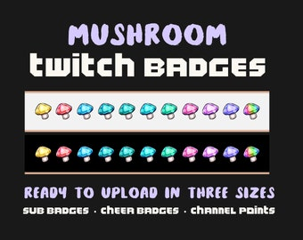 Twitch Sub Badges: Mushrooms | Loyalty Badges Pack - Cheer Badges, Subscribers, Points