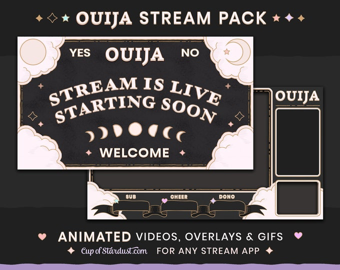 Gothic Ouija Stream Overlays Animated Videos + Ready to Use! Twitch, YouTube, OBS, Streamlabs