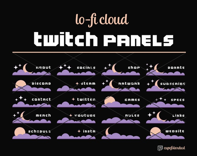 Twitch Profile Panels: Lo-Fi Moon, Cloud, & Stars - Aesthetic Lavender Purple + Gold Crescent + Full Moon Cloud Profile Sections