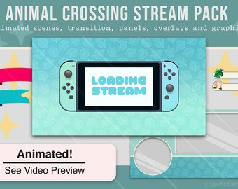 Animal Crossing Stream Overlays / ACNH Switch Twitch Theme Pack - Animated Starting, BRB, Ending Videos, Stinger, Panels