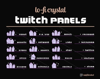 Cute Twitch Panels w/ Crystals and Stars - 21 Twitch Panel Art Files Instant Digital Download - Lo Fi Aesthetic Magenta Pretty Vaporwave