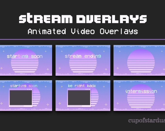 Vaporwave Purple Twitch Overlays - Animated Stream Pack