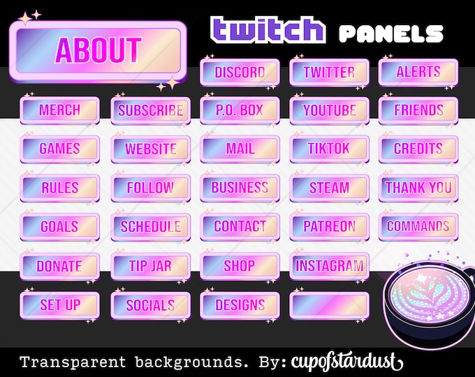 Prism Twitch Profile Panels - Pink Hologram Info Panels - Sparkly Rainbow Popup Banners