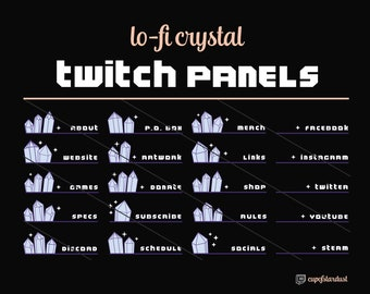 Purple Crystal Twitch Profile Panels w/ Stars - 21 Twitch Panel Art Files for Instant Digital Download - Lo Fi Aesthetic Pretty Girl Gamer