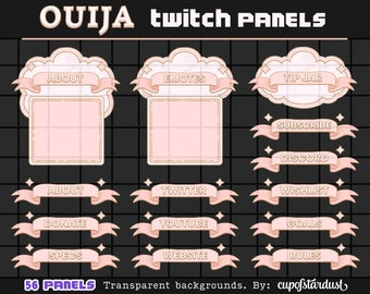 Ouija Clouds + Pink Ribbon Twitch Panels - Profile Banners / Info Panels