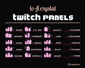 Hot Pink Crystal Twitch Panels - 21 Twitch Panel Art Files Instant Digital Download - Lo Fi Aesthetic Magenta Pretty Fuchsia