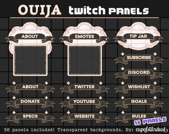 Black Cloud + Ribbon Twitch Panels - Gothic Ouija Profile Banners / Info Panels