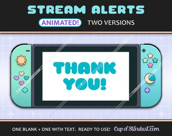 ACNH Switch Stream Alerts - Animated Pastel Blue-Green Twitch / YouTube Alerts