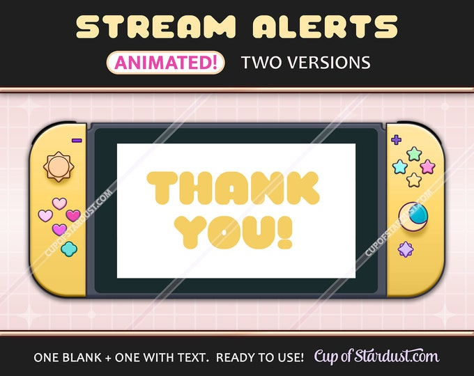 Yellow Twitch Stream Alerts - Animated Switch Console Sub Alert / YouTube Livestream Notifications