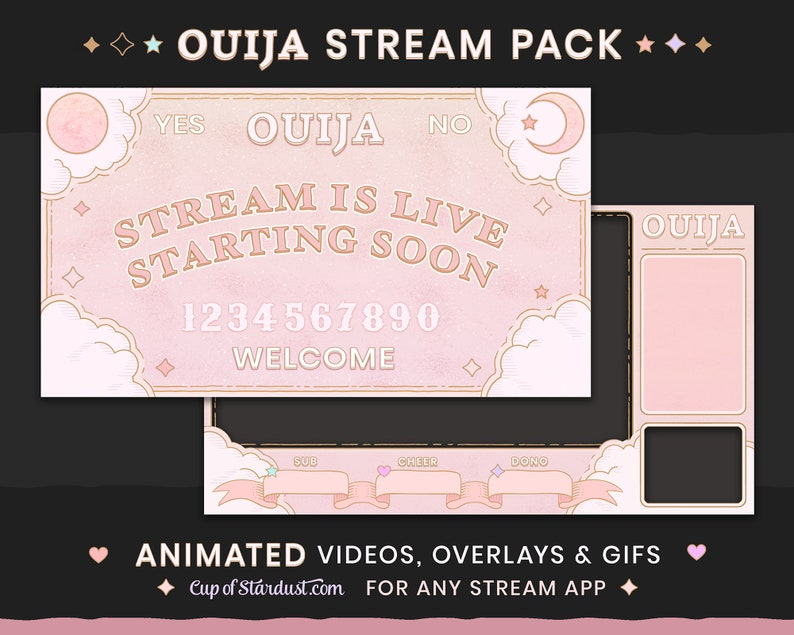 Ouija Board Stream Theme Pack Animated  Ready to Use Twitch image 1
