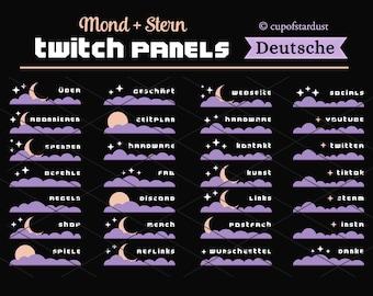 Deutsch Twitch Profilpanel Mond Stern und lila Wolke. Sofortdownload