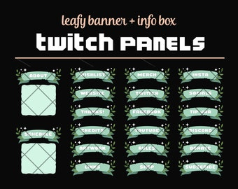 Green Twitch Profile Panels - Ribbon Banners - Leaves + Stars - Fantasy Channel Art