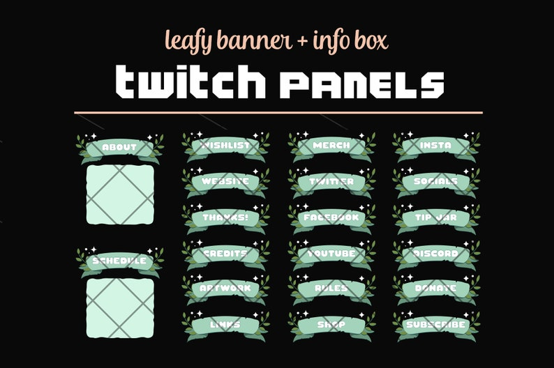 Green Twitch Profile Panels  Ribbon Banners  Leaves  Stars image 0