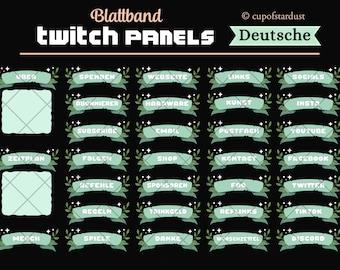 Grün Blatt Twitch Panels Deutsche - hübsche Bänder mit Sternen und Blättern