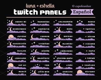 Paneles de Twitch Luna y Estrella con Nube Morada - Tema de Twitch perfil celestial en español