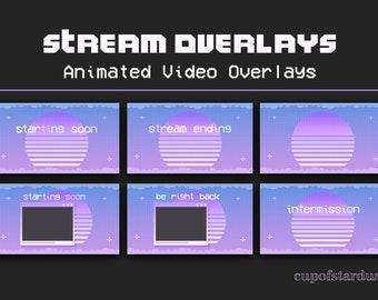 Vaporwave Purple Twitch Overlays - Animated Stream Pack