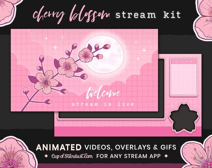Sakura Twitch Overlay Package - Stream Alerts, Twitch Panels, Stream Starting Soon, VTuber Theme