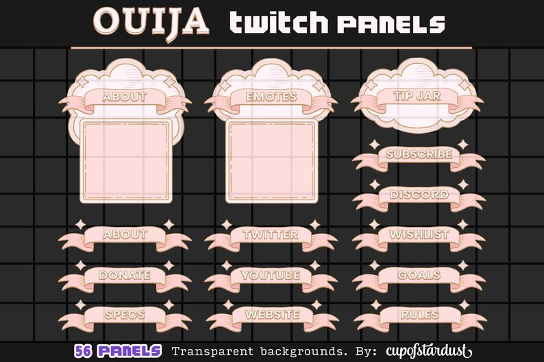 Ouija Clouds  Pink Ribbon Twitch Panels  Profile Banners / image 1