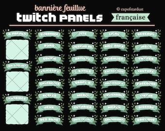 Twitch Panels française Panneaux de profil - vert Bannières de ruban - Feuilles + étoiles