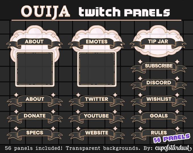 Black Cloud + Ribbon Twitch Panels - Gothic Ouija Profile Banners / Info Panels