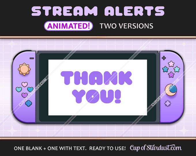 Purple Twitch Alerts - Animated Switch Stream Alerts / YouTube Livestream Notifications