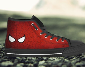 pretty nice 37f37 8ad70 Spiderman Shoes   Web Slinger Sneakers   Personalized Converse Style High  Top Shoes