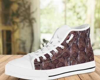 Prison Mike Shoes | Michael Scott Sneakers | The Office Inspired | Personalized Converse Style High Top Shoes
