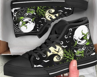 Jack Skellington Shoes - Nightmare Before Christmas Sneakers - Halloween  Gifts - Converse Style High Top Shoes 0f23706e7