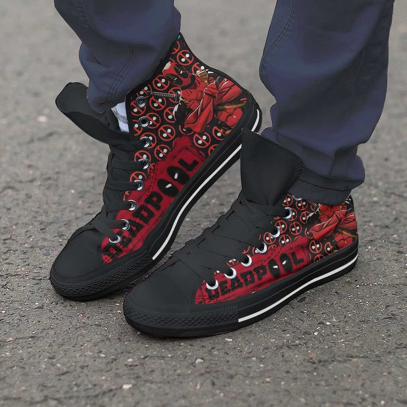 Deadpool Shoes | Marvel Superhero Fan Sneakers | Unofficial Personalized Converse Style Shoes