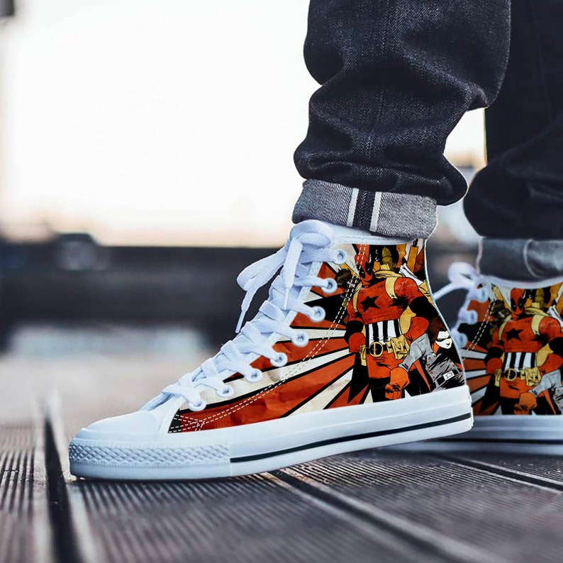 Deadpool Shoes | Deadpool Cosplay Sneakers | Unofficial Personalized Converse Style Shoes
