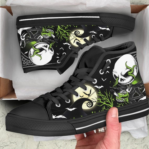 Nightmare Before Christmas Shoes Diy.Jack Skellington Shoes Nightmare Before Christmas Sneakers Halloween Gifts Converse Style High Top Shoes
