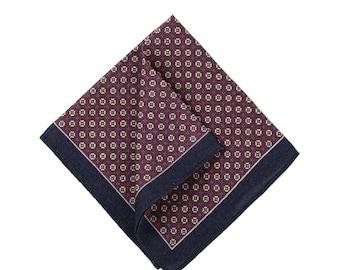 Burgundy Paisley Pocket Square,Burgundy Paisley Wool Pocket Square Navy Border Pocket Squares For Men