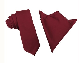 bf85b6b48c27 Mens Solid Burgundy Wedding 6.5 Skinny Tie Slim Thin Satin Ties Nectie  Necties with Matching Pocket Square for Groomsmen