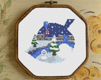 Animal Crossing Winter Leaf Cross Stitch Pattern | PDF Download