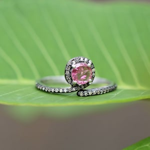 antique diamond certificate available Silver925 ring with tourmaline diamond  natural stone handmade victorian style aaaquality stone