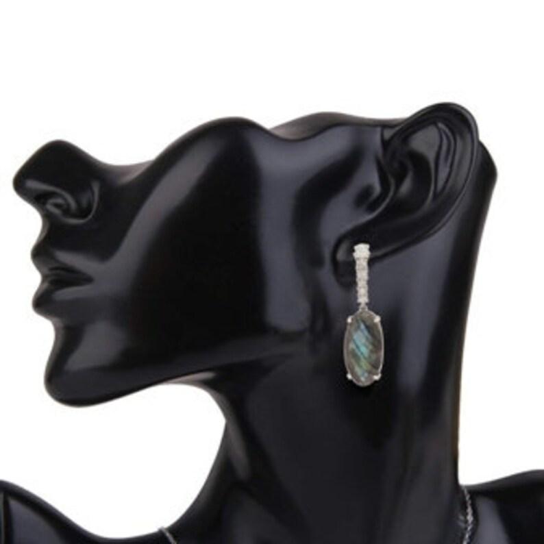 fashinable silver 925 earrings stone LABRADORITE