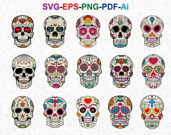 5c00ed63 15 Sugar skull SVG clipart - Calavera, Day of the dead, Mexican Skull Svg -  svg, eps, pdf, png, Cricut, Silhouette