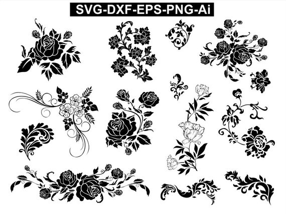 Flowers SVG , Flowers vector , flowers Cricut , flowers Silhouette ,  flowers Cut File , flowers Stencil Decal , flowers png eps dxf ai