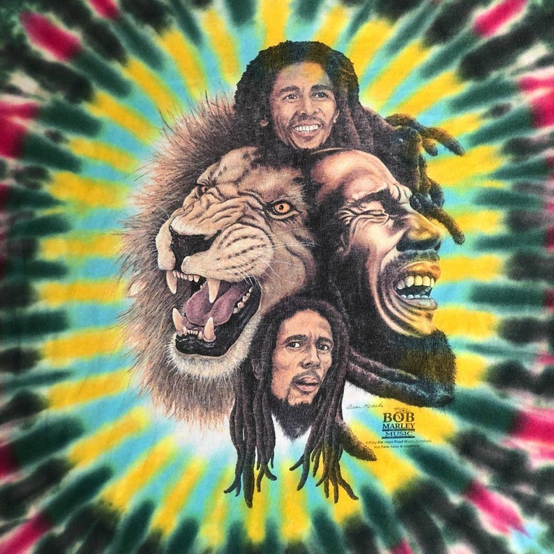 90/'s Bob Marley Rainbow Tye Dye Tee Rare
