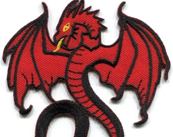 879a702e2 Red dragon medieval celtic tattoo goth gothic diy embroidered applique iron-on  patch S-1558