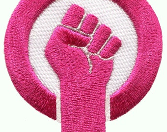 Girl power fist women s movement pride logo pink diy embroidered applique  iron-on patch S-1606 3bb35f755761