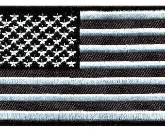 92fa53f3a09 American flag black and silver old glory stars and stripes USA United  States of America diy embroidered applique iron-on patch S-1540